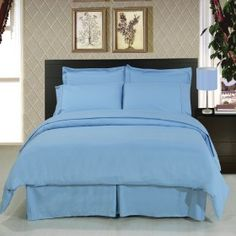 Solid Blue Super Soft Microfiber Sheets+Duvet+Alternative 8-Piece Bedding Set
