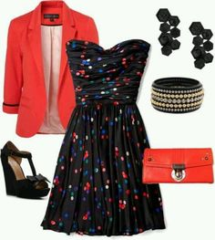 I want this outfit! Navy dress with multi color polkadots, coral jacket and clutch with cute black accessories and shoes.