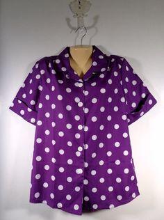 New Womens BLAIR Blouse Short Sleeves SS Size Small Purple #Blair #ButtonDownShirt #Casual