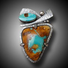 Royston Turquoise and Sterling Silver pendant B. Sasik