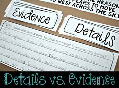 Great idea for a hands-on Details vs. Evidence mini-lesson. Perfect for…