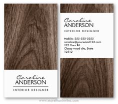 Classy stylish brown oak wood general generic interior designer business card for women
