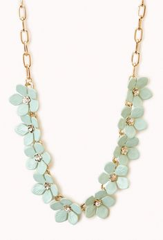 Floral Necklace | FOREVER21 Dress yourself in flowers! #Mint #Accessories #Rhinestones