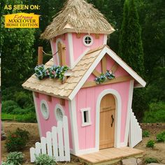 Rapunzel and Cinderella will be green with envy when they see our perfectly pink Crooked Princess model in your backyard. And your little princess will be the talk of the neighborhood. Hand-crafted and built with high-grade weather-tight exterior wooden siding, this playhouse will stand the test of time and create many childhood memories.