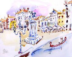 VENICE #venecia #watercolor #luz #color #magia #canal #vivaldi #canaleto #puentes #gondolas