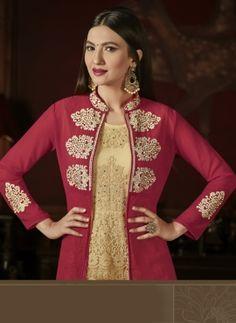 708b557f52c Beige   maroon designer suit Anarkali Churidar
