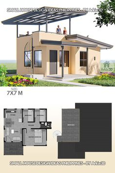 Guest House Plans, Small House Floor Plans, Modern House Plans, Bedroom House Plans, 3 Bedroom Floor Plan, Best Small House Designs, Modern Small House Design, Simple House Design, Row House Design
