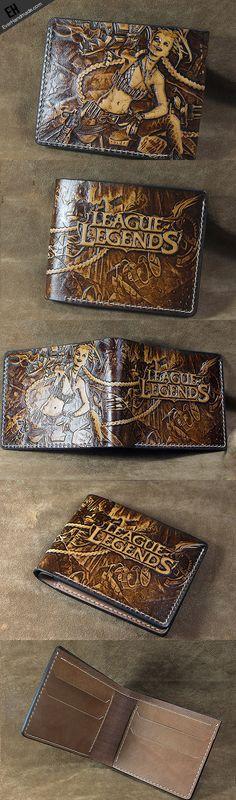 Handmade League of Legends LOL JINX carved leather custom short wallet | EverHandmade