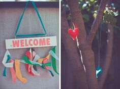 love hanging the sign w fabric .. (tip - staple gun into the top of a door/whatever you're attaching it to)