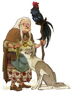 Baba Yaga by Fukari shapeshifter wolf rooster chicken bird staff witch wizard sorceress sorcerer armor clothes clothing fashion player character npc | Create your own roleplaying game material w/ RPG Bard: www.rpgbard.com | Writing inspiration for Dungeons and Dragons DND D&D Pathfinder PFRPG Warhammer 40k Star Wars Shadowrun Call of Cthulhu Lord of the Rings LoTR + d20 fantasy science fiction scifi horror design | Not Trusty Sword art: click artwork for source