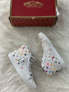 custom made vans worn only size no trades shipping only ask for details Vans Slip On Shoes, Custom Vans Shoes, Custom Painted Shoes, Me Too Shoes, Custom High Top Vans, White High Top Vans, Customised Vans, Cute Vans, Aesthetic Shoes