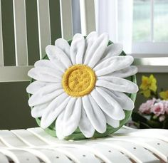 Amazon.com - Collections Etc - Daisy Flower Shaped Decorative Throw Pillow -