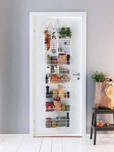 Elfa Door & Wall Rack - Pantry Storage at STORE. Door and wall rack system from elfa to make the most of unused space in the pantry, uti. Cheap Shelves, Cheap Storage, Pantry Storage, Door Storage, Kitchen Storage, Storage Ideas, Organization Ideas, Fridge Organization, Smart Kitchen