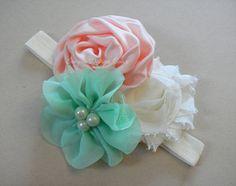 Baby Headband - Newborn Headband - Flower Headband - Photography Prop - Elastic Headband - Shabby Chic Headband - Peach Mint Ivory Flowers