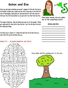 Adam and Eve printable wild card for kids to do during Sunday school.