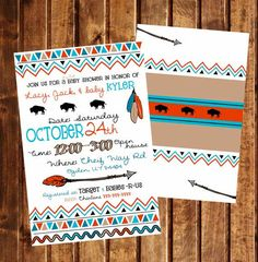 Cowboys Indians 5x7 Baby Shower Invitation two sided digital