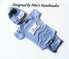 Knit Personalized GREY Baby hat and Bodysuit by  NinisHandmades #nini's Handmades #custom hats #baby hats #baby clothes #girls hats #girls accessories #adult hats #colorful hats #colorful accessories #applique hats #boys clothing #boys hats #girls clothing #girls gifts #gifts #baby shower  gift #etsy shop #etsy #bogo sale #cupcake hat #polka dot hat #bow hats #bows #Cherry #baby clothes #diaper cover set #tractor #dinosaur baby #dinosaur themed #Name hat #name outfit
