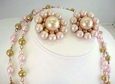 1950s Large Chunky Gum Ball Pink Faux Pearl Gold Tone Pins & Long Necklace Set #NotMarked