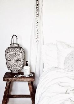 Bedroom. Bedside Table. Stool. White Linen. Lantern. Home. Design. Decor. Detail.