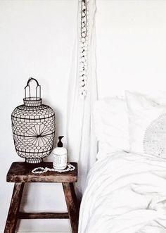 Bedroom. Bedside Table. Stool. White Linen. Lantern. Home. Design. Decor. Detail.
