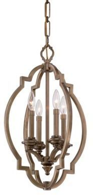 Metropolitan® Leicester 4-Light Foyer Pendant in Aged Brass