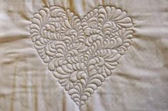 Machine Quilted Feathered Heart White Cotton Fabric, Cotton Batting, White Cotton Aurifil...