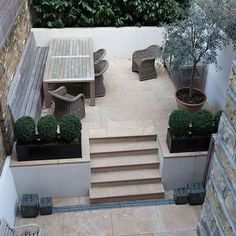A terrace vs patio and a terrace vs patio. What is the difference between a patio and a terrace? Terraced Patio Ideas, Terraced Landscaping, Landscaping Ideas, Backyard Ideas, Terrace Ideas, Fence Ideas, Small Town Garden Ideas, Townhouse Garden, Sloped Garden
