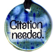 Citation Needed Ceramic Necklace in Blue by surly on Etsy, $18.00