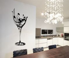 Abstract Wine Glass Wall Art Stickers Decals Free Applicator Kitchen Cup | Abstract Wall Decals