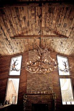 Rustic Wedding Lodge venue - Bemus Point, NY - Mantle - Elk Chandelier