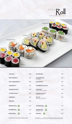 Main Menu | Kabuki Restaurant Asparagus Rolls, Salmon Roll, Shrimp Rolls, Salmon Skin, Main Menu, Menu Design, Food Menu, Creative Food