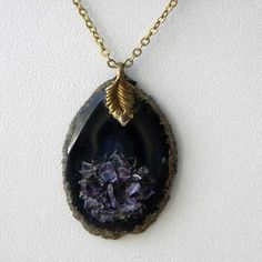 Superb gemstone vintage necklace of a Amethyst pendant and chain It has a little slice of the semi precious gemstone Amethyst dangling pretty