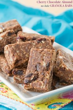 Cherry Chocolate Almond No-Bake Granola Bars are an and easy, healthy snack recipe to pack in a lunchbox that will also satisfy a sweet tooth.