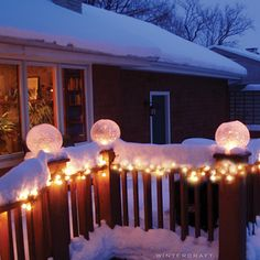 Wintercraft IceLantern - Globe Ice Lantern display on deck rails
