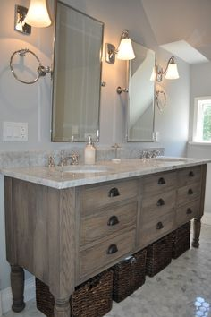 Blank and Baker: Beautiful attic master bathroom with hand distressed custom vanity composed of plainsawn ...