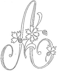 The letter 'A' - all other letters are there too! adult coloring pages Embroidery Alphabet, Embroidery Monogram, Ribbon Embroidery, Cross Stitch Embroidery, Embroidery Designs, Colouring Pages, Coloring Books, Adult Coloring, Floral Font
