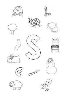 werkblad letter s I Love School, Pre School, Speech Language Therapy, Speech And Language, Teach Like A Champion, Emergent Literacy, Picture Letters, Teaching The Alphabet, Alphabet Worksheets