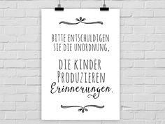 Poster Kunstdruck Unordnung Kinder Erinnerungen // Typo Print children chaos memories via DaWanda.com