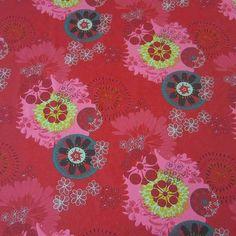 Stoff Ornamente - Stoff Baumwolle Ornament Mandala rot pink petrol - ein Designerstück von werthers-stoffe bei DaWanda
