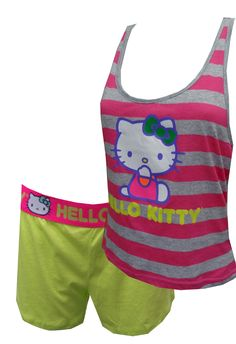 Hello Kitty Striped Shortie Pajama Set, $26  Bold and fun! These pajama sets for women feature Hello Kitty on a bold striped background. The athletic style tank is intentionally longer in the back. Paired with bright neon elastic waist shorts, this set is super fun. Machine wash, junior cut.