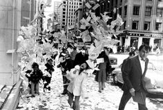 Young people throwing  calendars and paper in downtown San Francisco (photo from Jan. 1, 1976). which was an end of the year tradition for years.