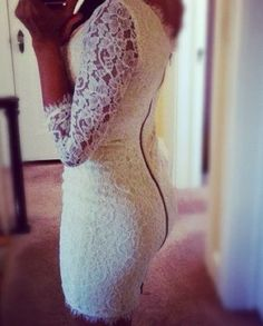 white lace with zippered back