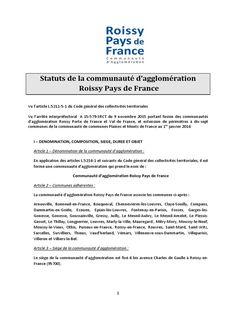 les statuts de Roissy pays de France