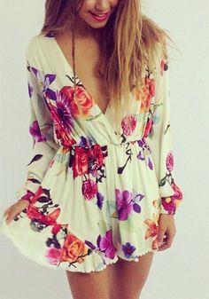 Long-Sleeve Floral Romper - lookbook store