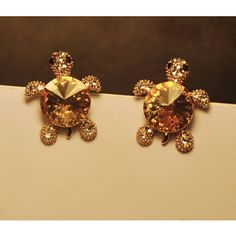 Shinning Tortoise with Rhinestone Stylish Ear Studs