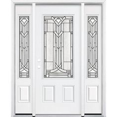 """Masonite HD steel offers superior strength combined with the elegance of decorative glass in the Chatham Three Quarter Rectangle Lite Steel Entry Door. The glass design enhances both the appearance and value of your home without compromising security or privacy. Durable high-definition panels offer excellent shadow lines for added architectural interest. The entry system features a maintenance-free 6-9/16"""" white vinyl door frame along with 1-5/8"""" white vinyl brickmould tha..."""