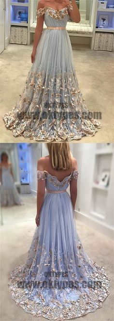 2018 Newest Long Mermaid Prom Dresses, Off-shoulder Appliques Prom Dresses, Backless Zipper Tulle Prom Dresses, TYP0367 #promdresses