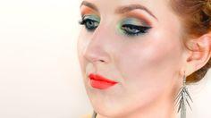 bright green and orange makeup