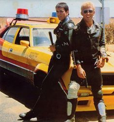 Mel Gibson and Steve Bisley - Mad Max Mad Max Mel Gibson, Fallout, Apocalypse, Mad Max Costume, Badass Movie, The Road Warriors, Mad Max Fury Road, Sci Fi Movies, 1970s Movies
