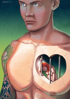Daniel Garcia Art Illustration Editorial Print Jealousy Violence Men Muscles Naked Women Boobs Gender Prison Heart Love Sex Relationship 10